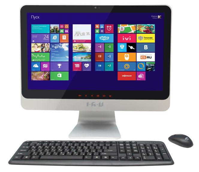 Моноблок IRU 207, Intel Celeron 1005M, 4Гб, 500Гб, Intel HD Graphics, DVD-RW, Windows 7 Professional, черный и серебристый [897618]