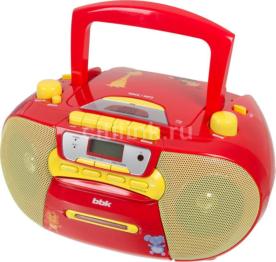 Аудиомагнитола BBK BX111UC,  красный и желтый