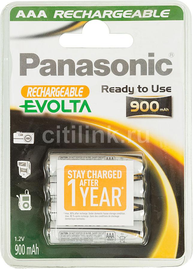 Аккумулятор PANASONIC Evolta HHR-4XXE/4B,  4 шт. AAA,  900мAч