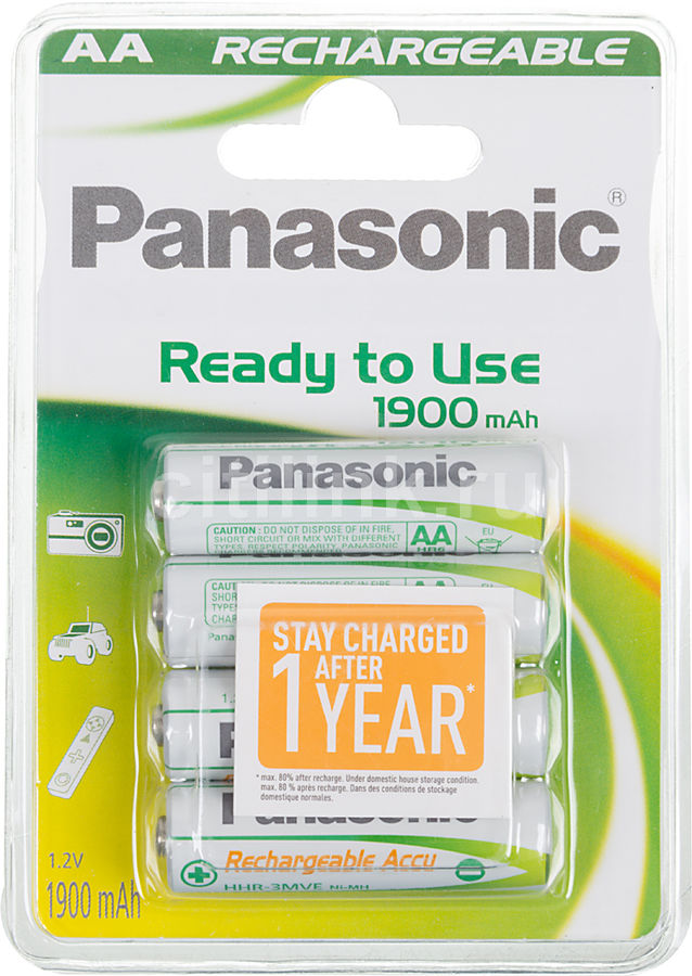 Аккумулятор PANASONIC Ready to use HHR-3MVE/4BC,  4 шт. AA,  1900мAч