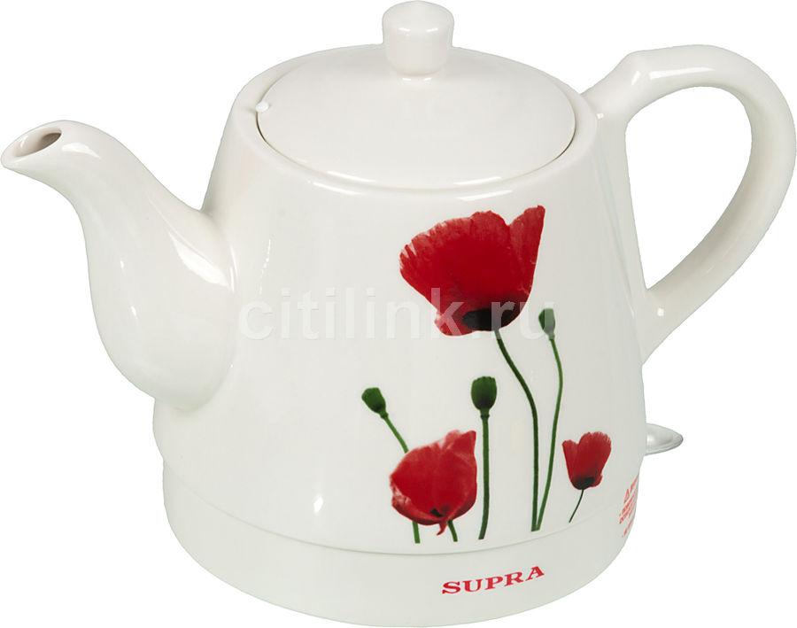 Чайник электрический SUPRA KES-121C, 1000Вт, белый и рисунок