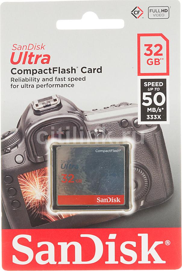 Карта памяти CF SANDISK Ultra 32 ГБ, 50 МБ/с, 333X, SDCFHS-032G-G46,  1 шт.