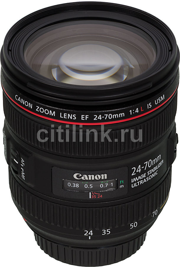 Объектив CANON 24-70mm f/4L EF IS USM, Canon EF, черный [6313b005] canon 24 105mm f4 lens canon ef 24 105 mm f 4l is usm lenses
