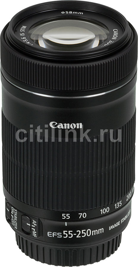 Объектив CANON 55-250mm f/4-5.6 EF-S IS STM, Canon EF-S [8546b005]Объективы для фотоаппаратов<br>байонет, тип: Canon EF-S,  c оптическим стабилизатором<br>