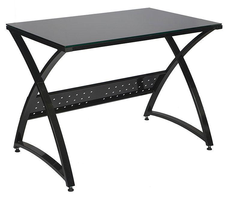 Стол компьютерный  БЮРОКРАТ Omega-100,  закаленное стекло,  черный