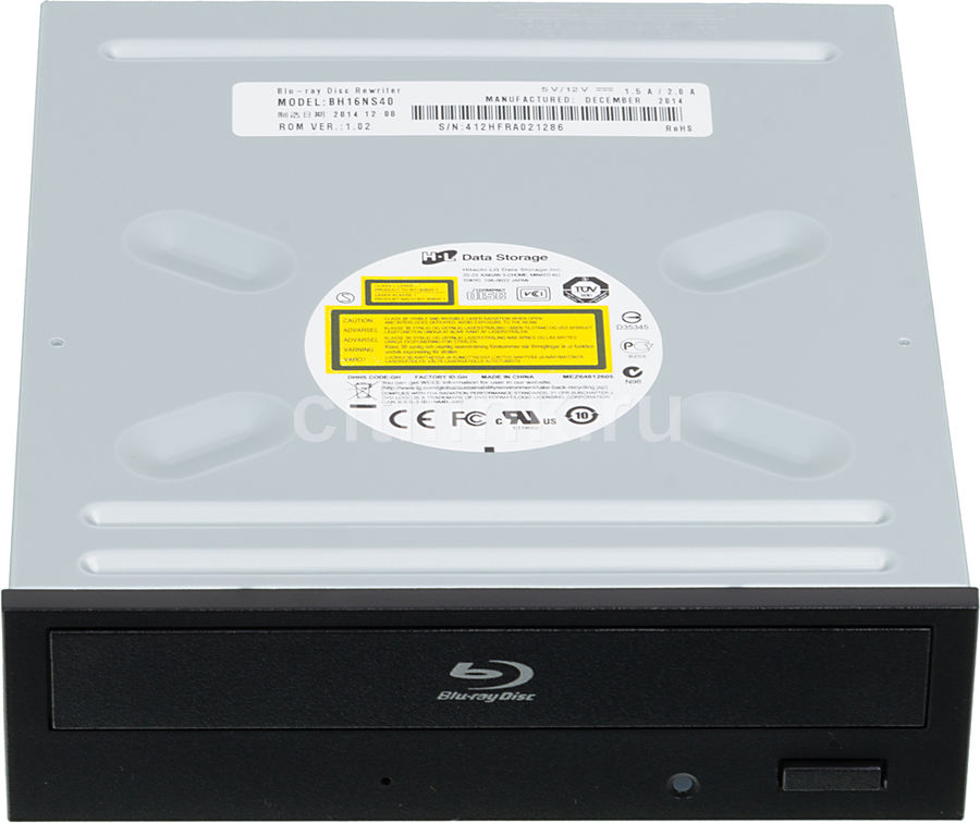 Оптический привод Blu-Ray LG BH16NS40, внутренний, SATA, черный,  OEM