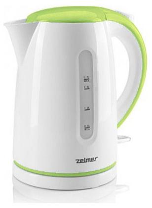 Чайник электрический ZELMER CKE850, 2200Вт, белый и зеленый