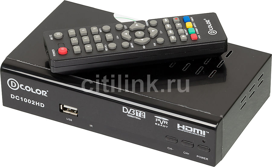 Ресивер DVB-T2 D-COLOR DC1002HD, черный телеприставка qhisp iptv dvb t2 mpeg4 hd 40 car dvb t2