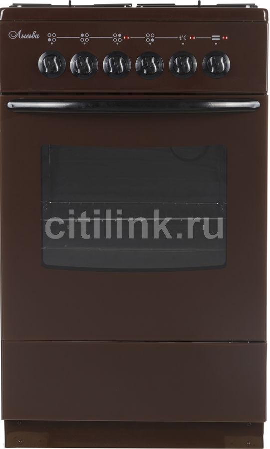 Газовая плита ЛЫСЬВА ЭГ 1/3г01 M2C-2у,  электрическая духовка,  коричневый [эг 1/3г01 м2с-2у]