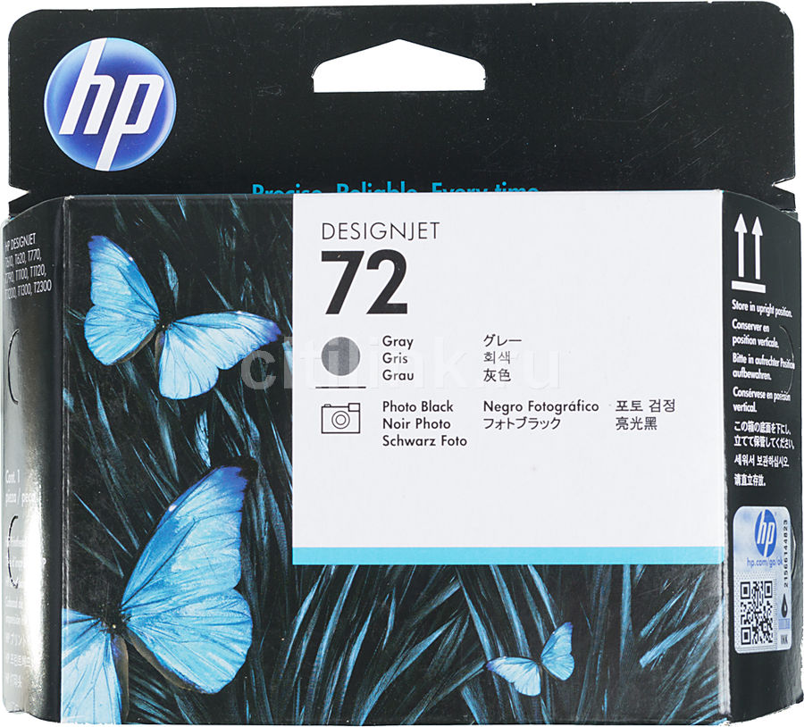 Печатающая головка HP №72 фото черный / серый [c9380a] empty 200ml refillable ink cartridge for epson 4910 printer with arc chip