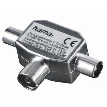 Сплиттер антенный HAMA Coax (f)  -  2xCoax (m) ,  серебристый [00122469]