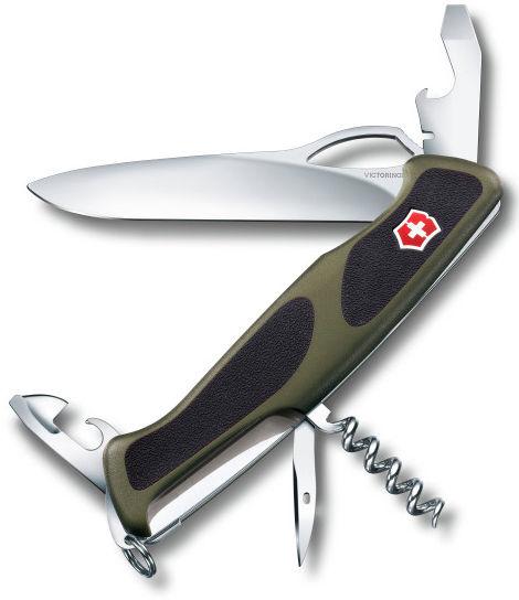Складной нож VICTORINOX RangerGrip 61, 11 функций,  130мм, зеленый  / черный [0.9553.mc4]