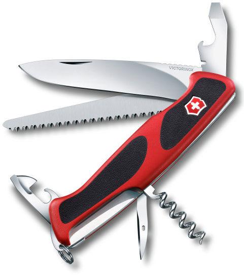 Складной нож VICTORINOX RangerGrip 55, 12 функций,  130мм, красный  / черный [0.9563.c ]