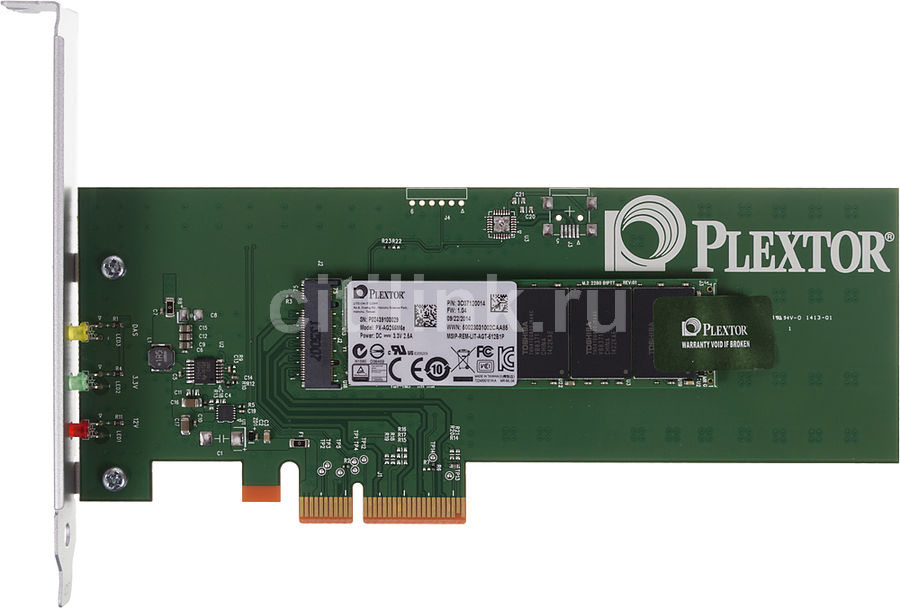 Накопитель SSD PLEXTOR M6e PX-AG256M6e 256Гб, PCI-E AIC (add-in-card), PCI-E x2