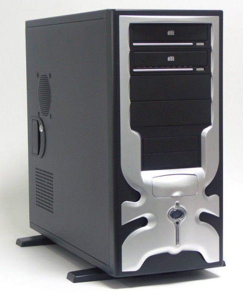 Корпус ATX FOXCONN TPS-230-2, 500Вт,  черный и серебристый