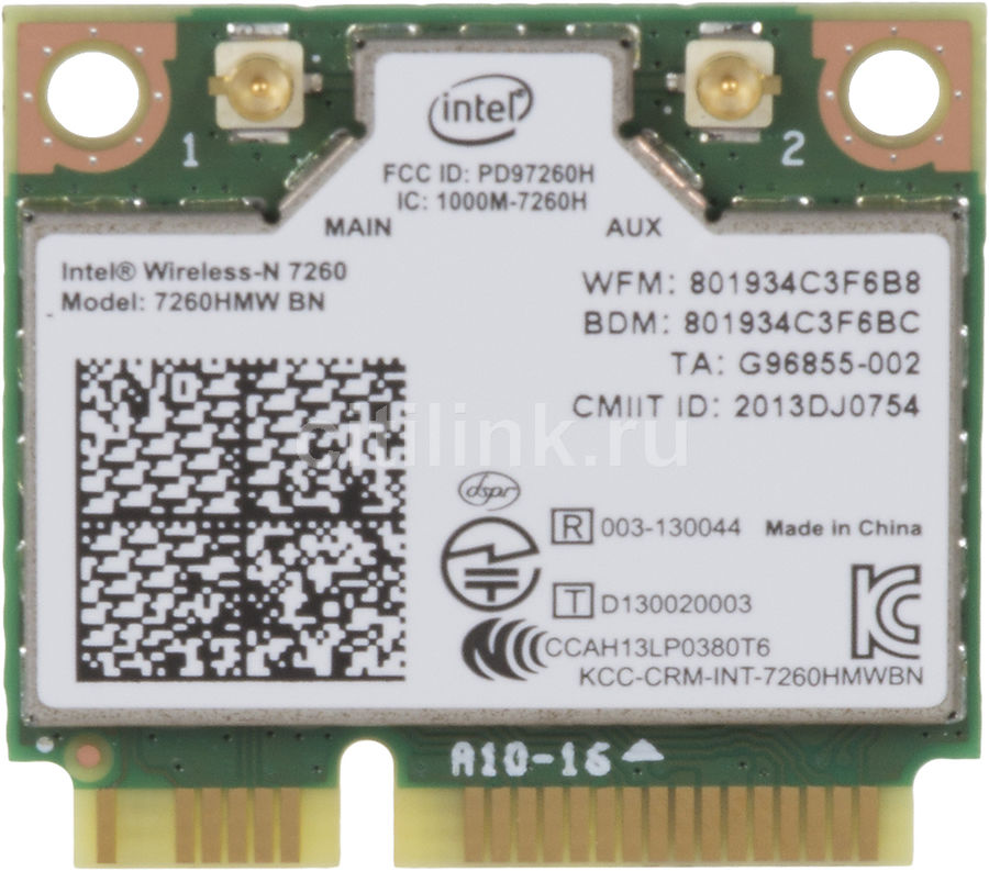 Сетевой адаптер WiFi + Bluetooth INTEL Wireless-N 7260 mini PCI-E [7260.hmwbnwb 928687]