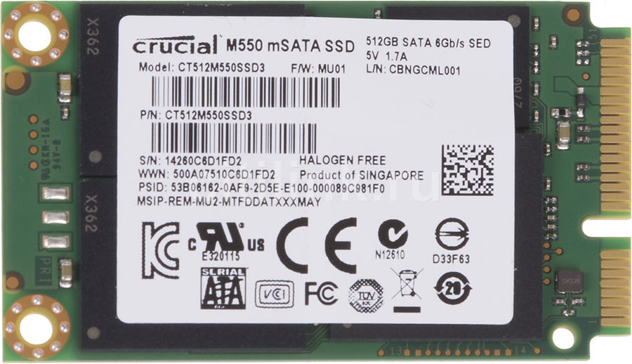 Накопитель SSD CRUCIAL M550 CT512M550SSD3 512Гб, mSATA, SATA III