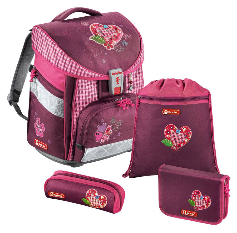 Ранец Step By Step Comfort Tweedy Hearts розовый/рисунок сердце 4 предмета [00129088]
