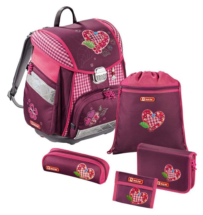Ранец Step By Step Touch Tweedy Hearts розовый/рисунок сердце 5 предметов [00129086]