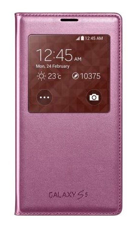Чехол (флип-кейс) SAMSUNG S View Rose Gold  (EF-CG900BFEGRU), для Samsung Galaxy S5, коричневый