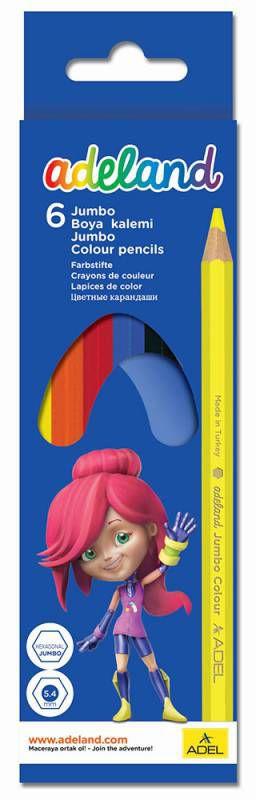 Карандаши цветные Adel ADELAND JUMBO 211-9540-100 шестигран. 6цв. коробка/европод.