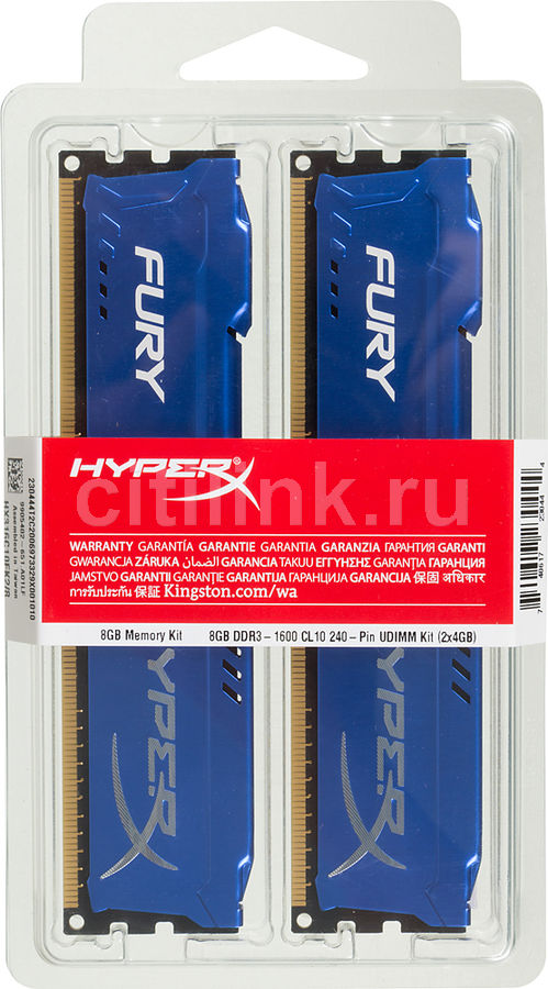 Модуль памяти KINGSTON HyperX FURY Blue Series HX316C10FK2/8 DDR3 - 2x 4Гб 1600, DIMM, Ret модуль памяти kingston hyperx fury black series hx318c10fbk2 8 ddr3 2x 4гб 1866 dimm ret