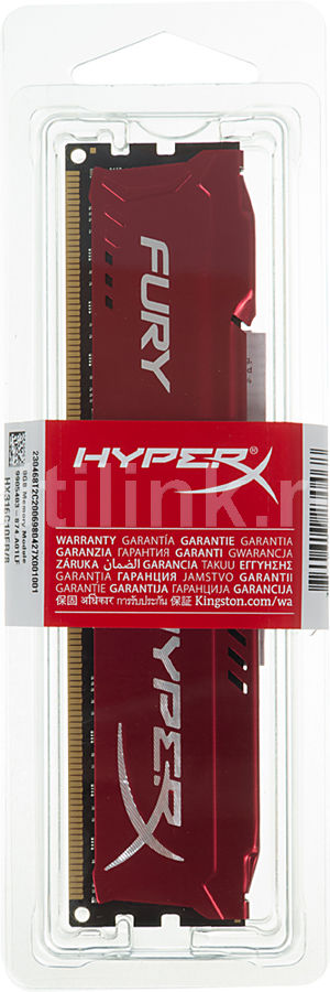 Модуль памяти KINGSTON HyperX FURY Red Series HX316C10FR/8 DDR3 - 8Гб 1600, DIMM, Ret модуль памяти kingston hyperx savage hx316c9sr 8 ddr3 8гб 1600 dimm ret