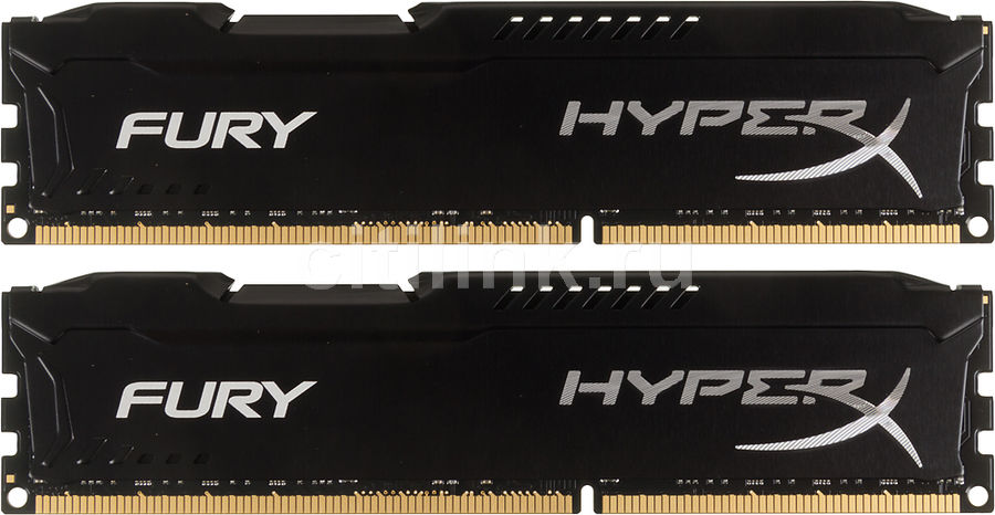 все цены на Модуль памяти KINGSTON HyperX FURY Black Series HX318C10FBK2/16 DDR3 - 2x 8Гб 1866, DIMM, Ret