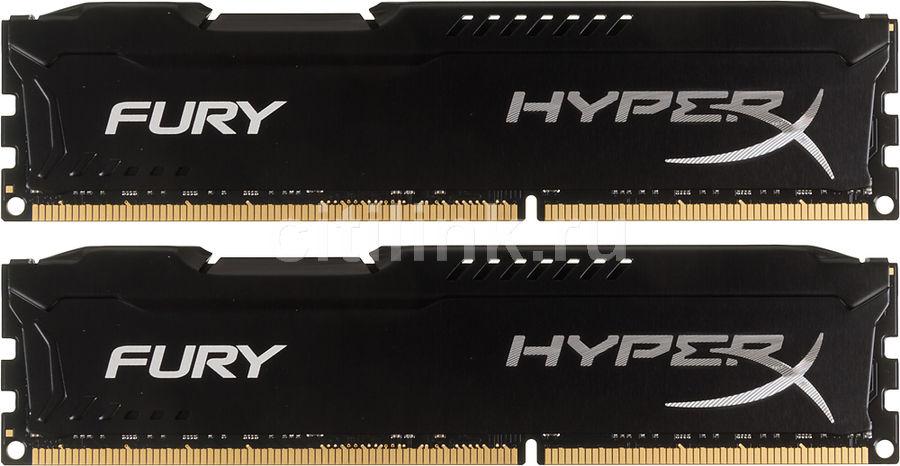 Модуль памяти KINGSTON HyperX FURY Black Series HX318C10FBK2/16 DDR3 -  2x 8Гб 1866, DIMM,  Ret