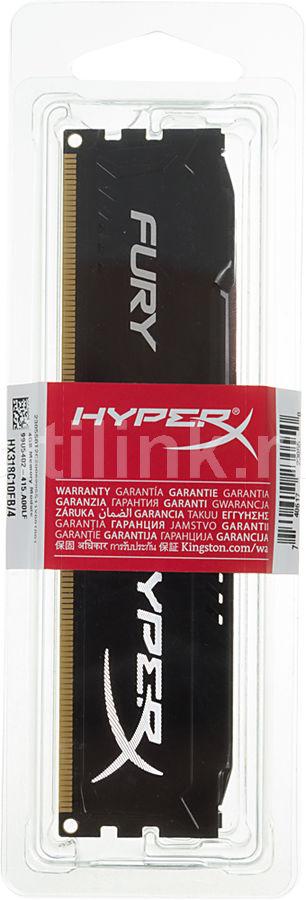 Модуль памяти KINGSTON HyperX FURY Black Series HX318C10FB/4 DDR3 -  4Гб 1866, DIMM,  Ret