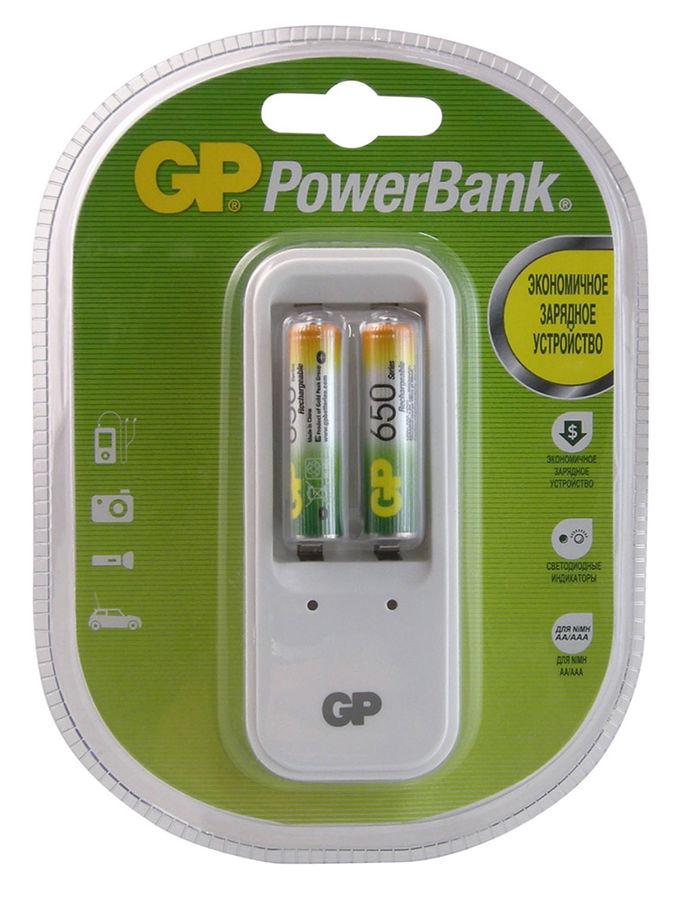 Аккумулятор + зарядное устройство GP PowerBank PB410GS65,  2 шт. AAA,  650мAч