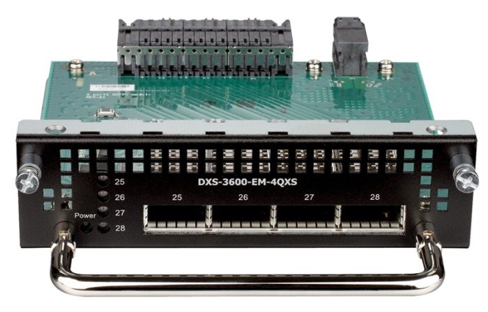 Модуль D-Link DXS-3600-EM-4QXS 4 QSFP+ 40Gbps expansion module (Future), available on EI/SI version