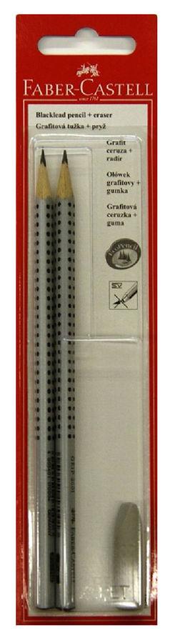 Карандаш чернографит. Faber-Castell Grip 2001 263301 HB/B ластик блистер (2шт)