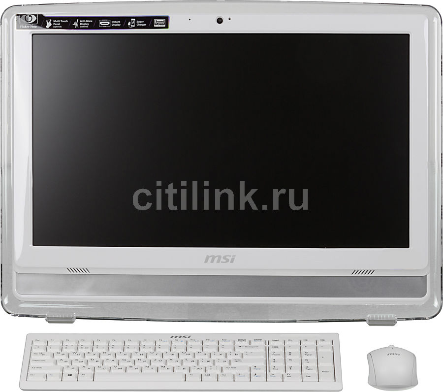 Моноблок MSI AE222G-081RU, Intel Core i3 4150, 4Гб, 1Тб, nVIDIA GeForce GT740M - 2048 Мб, DVD-RW, Windows 8.1, белый и серебристый [9s6-ac1112-081]