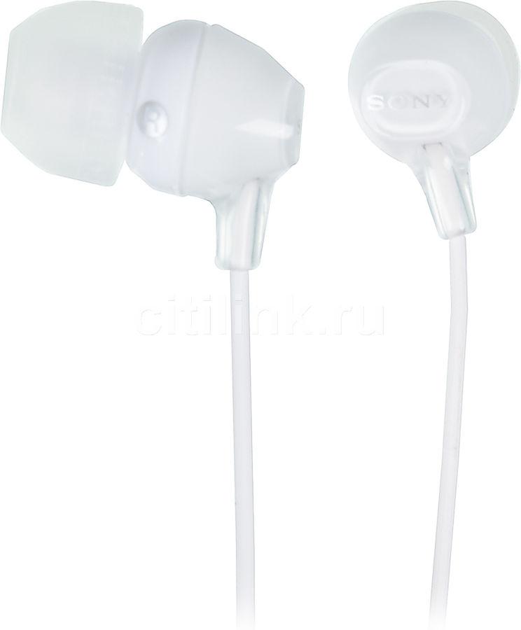 Наушники SONY MDR-EX15LP, вкладыши,  белый, проводные