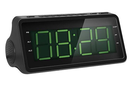 Радиобудильник ROLSEN CR-142, зеленая подсветка,  черный