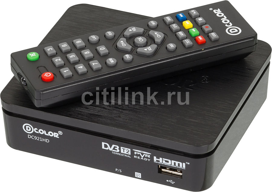 Ресивер DVB-T2 D-COLOR DC921HD, черный телеприставка qhisp iptv dvb t2 mpeg4 hd 40 car dvb t2