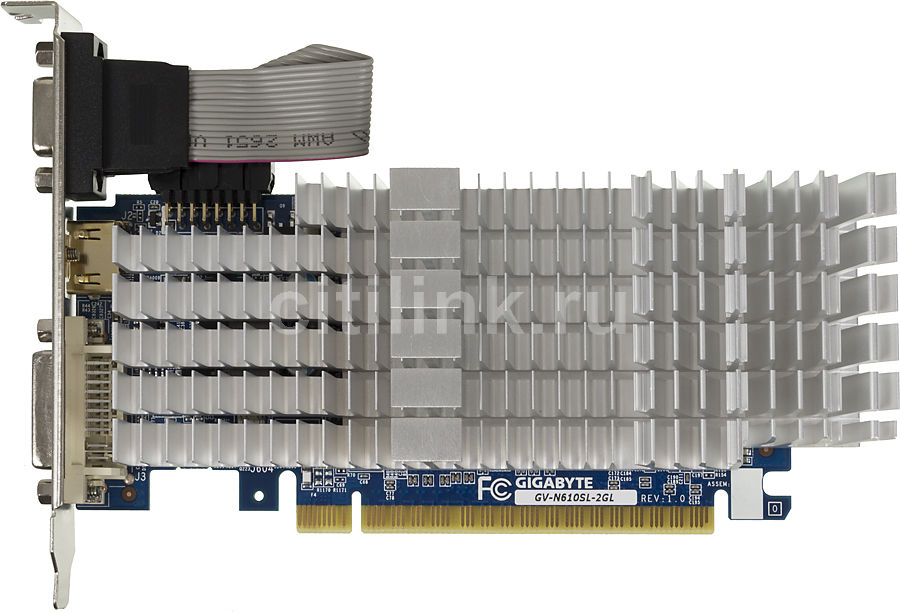 Видеокарта GIGABYTE GeForce GT 610,  GV-N610SL-2GL,  2Гб, DDR3, Low Profile,  Ret