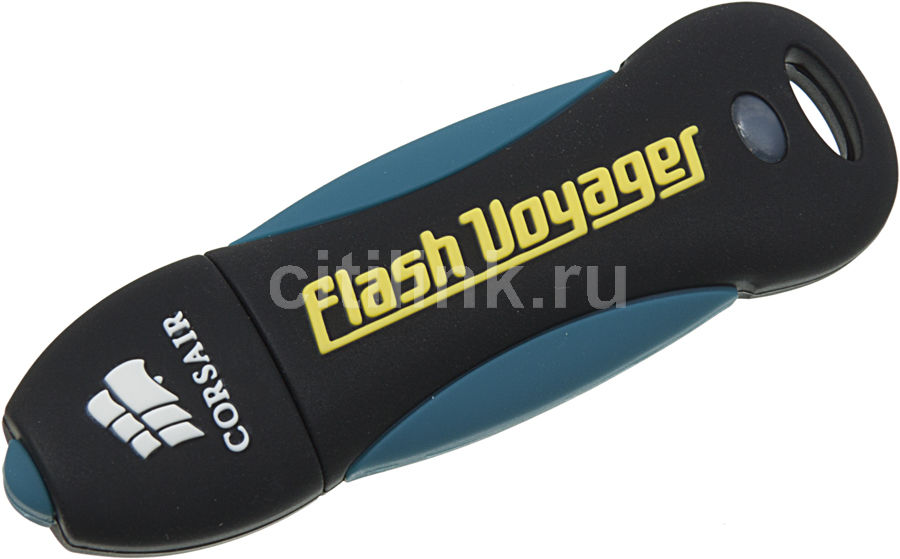 Флешка USB CORSAIR Voyager 16Гб, USB2.0, черный и синий [cmfusb2.0-16gb]