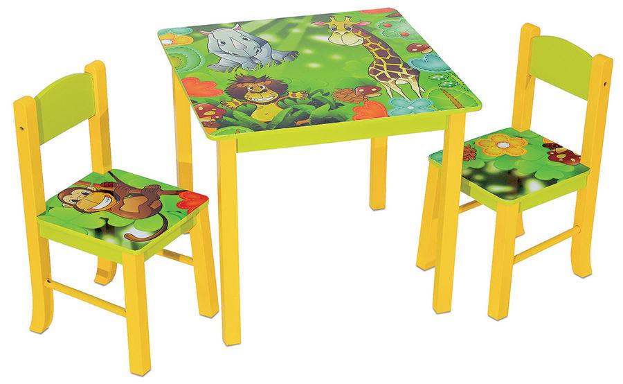 Детский стол  + 2 стула БЮРОКРАТ KidSet-01,  МДФ,  зеленый и желтый