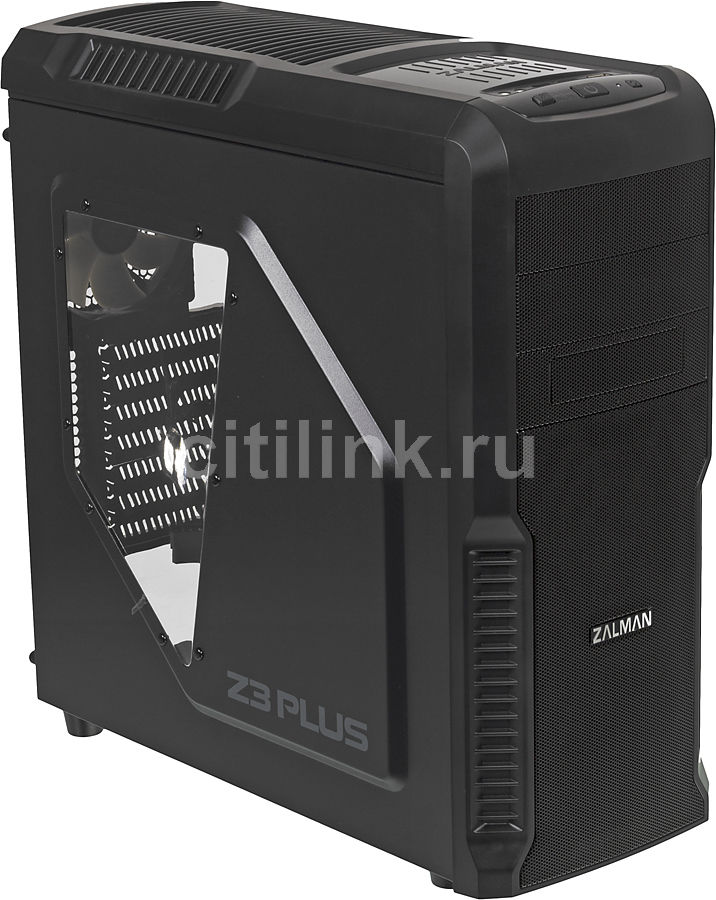 Корпус ATX ZALMAN Z3 Plus, Midi-Tower, без БП,  черный