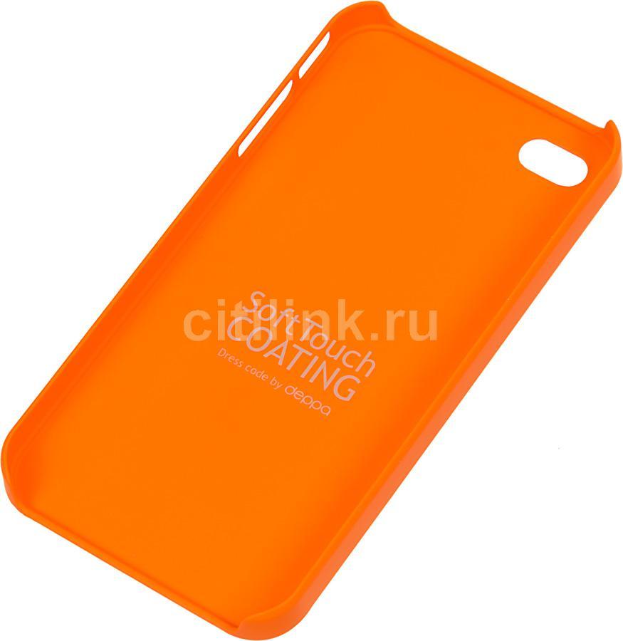 Чехол (клип-кейс) DEPPA Air Case, 83008, для Apple iPhone 4/4S, оранжевый