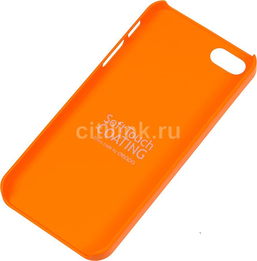 Чехол (клип-кейс) DEPPA Air Case, 83013, для Apple iPhone 5/5S, оранжевый