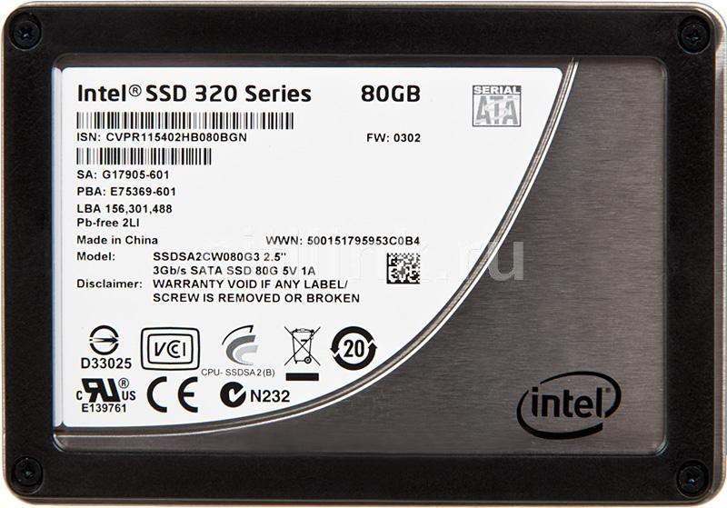SSD накопитель INTEL 320 Series SSDSA2CW080G310 80Гб, 2.5