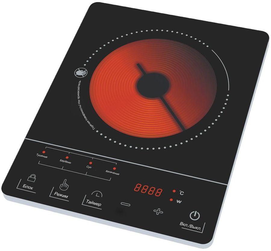 Электрическая плита MARTA MT-4206,  стеклокерамика,  черный