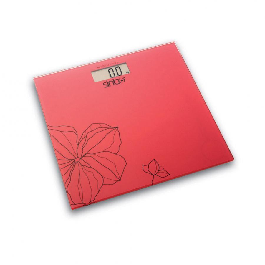 Весы SINBO SBS 4418, до 150кг, цвет: красный/рисунок