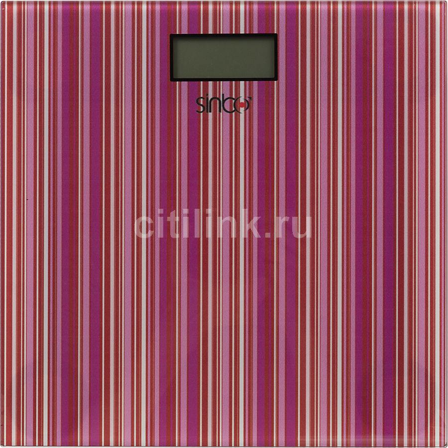 Весы SINBO SBS 4427, до 150кг, цвет: бордовая полоска
