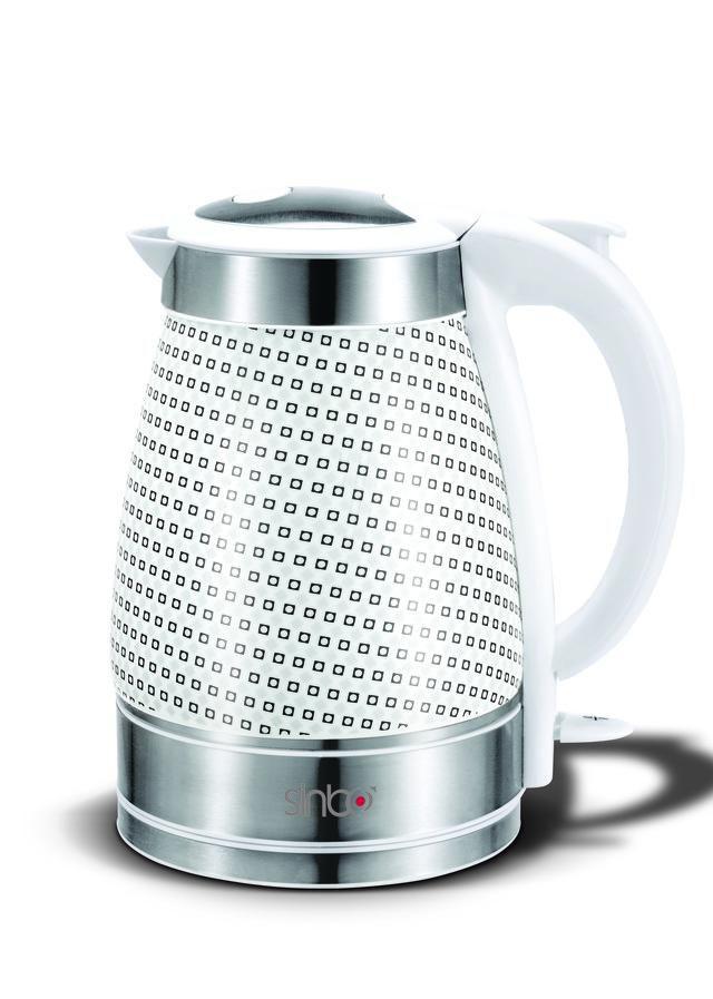Чайник электрический SINBO SK 7321, 2000Вт, белый и серебристый