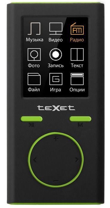 MP3 плеер TEXET Т-30 flash 8Гб черный/зеленый [124059]