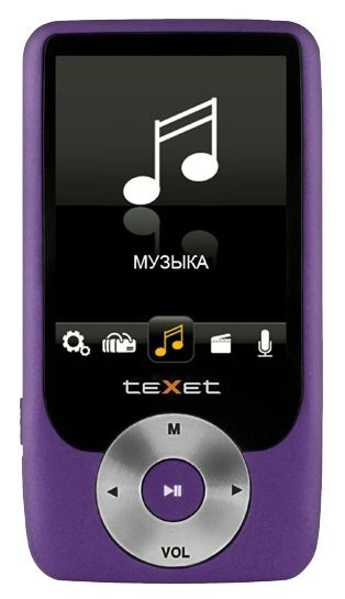 MP3 плеер TEXET Т-79 flash 8Гб фиолетовый [124166]